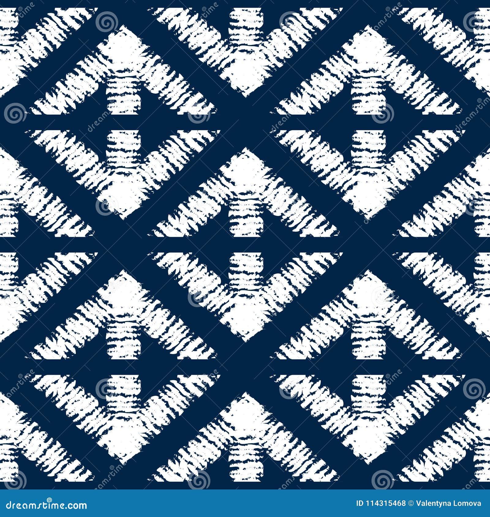 Abstract indigo shibori seamless pattern with mosaic