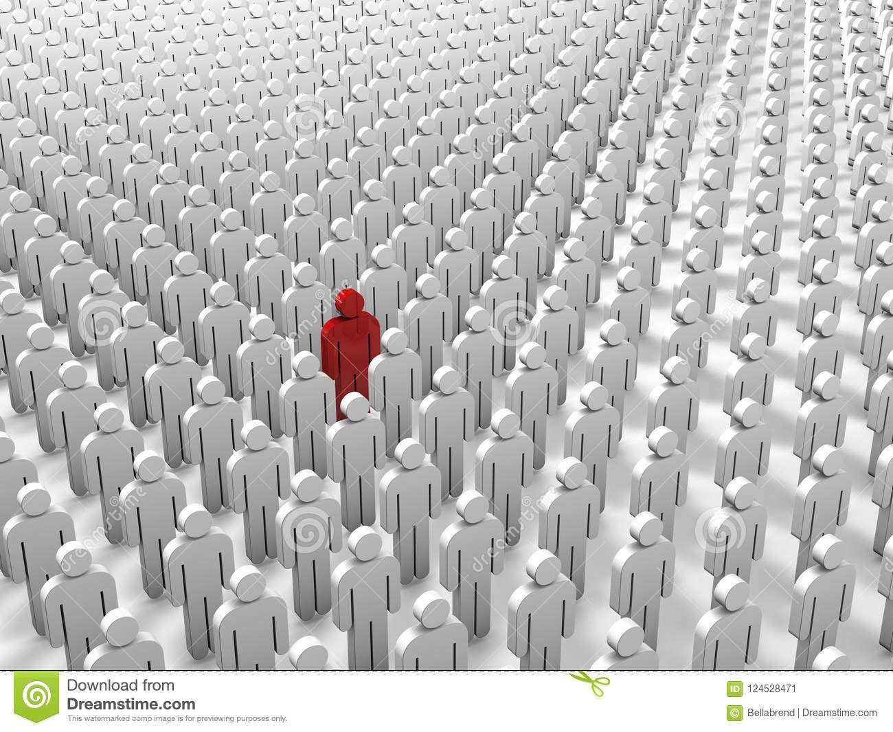 Abstract individuality, uniqueness and leadership business concept: single red 3D people figure in crowded group of white figures.
