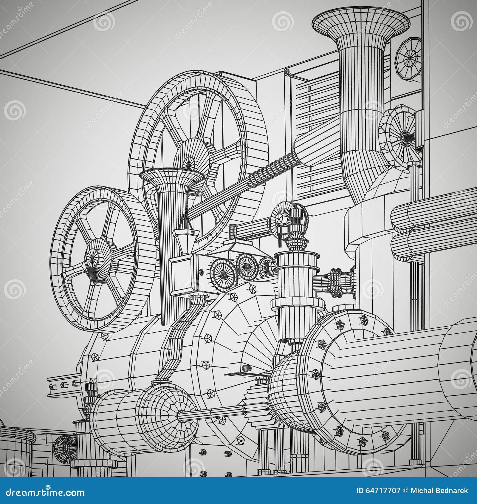 Industrial Technology Business Gears Background Cartoon