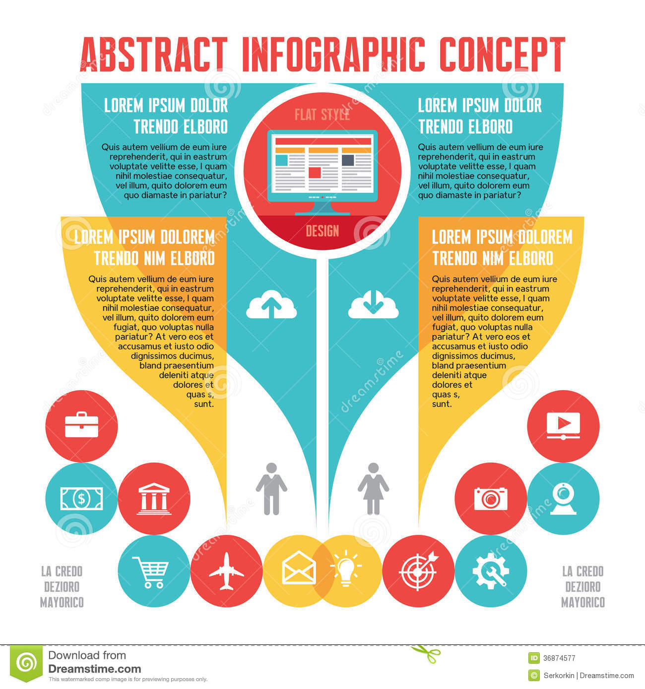 Abstract Infographic Business Concept With Icons In Flat ...