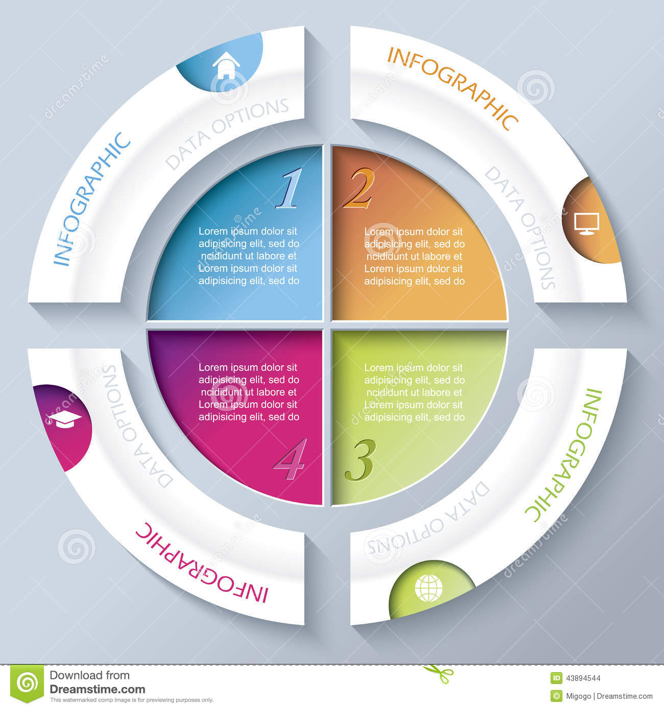 Abstract Infographic Design With Circle And Four Segments Stock Illustration
