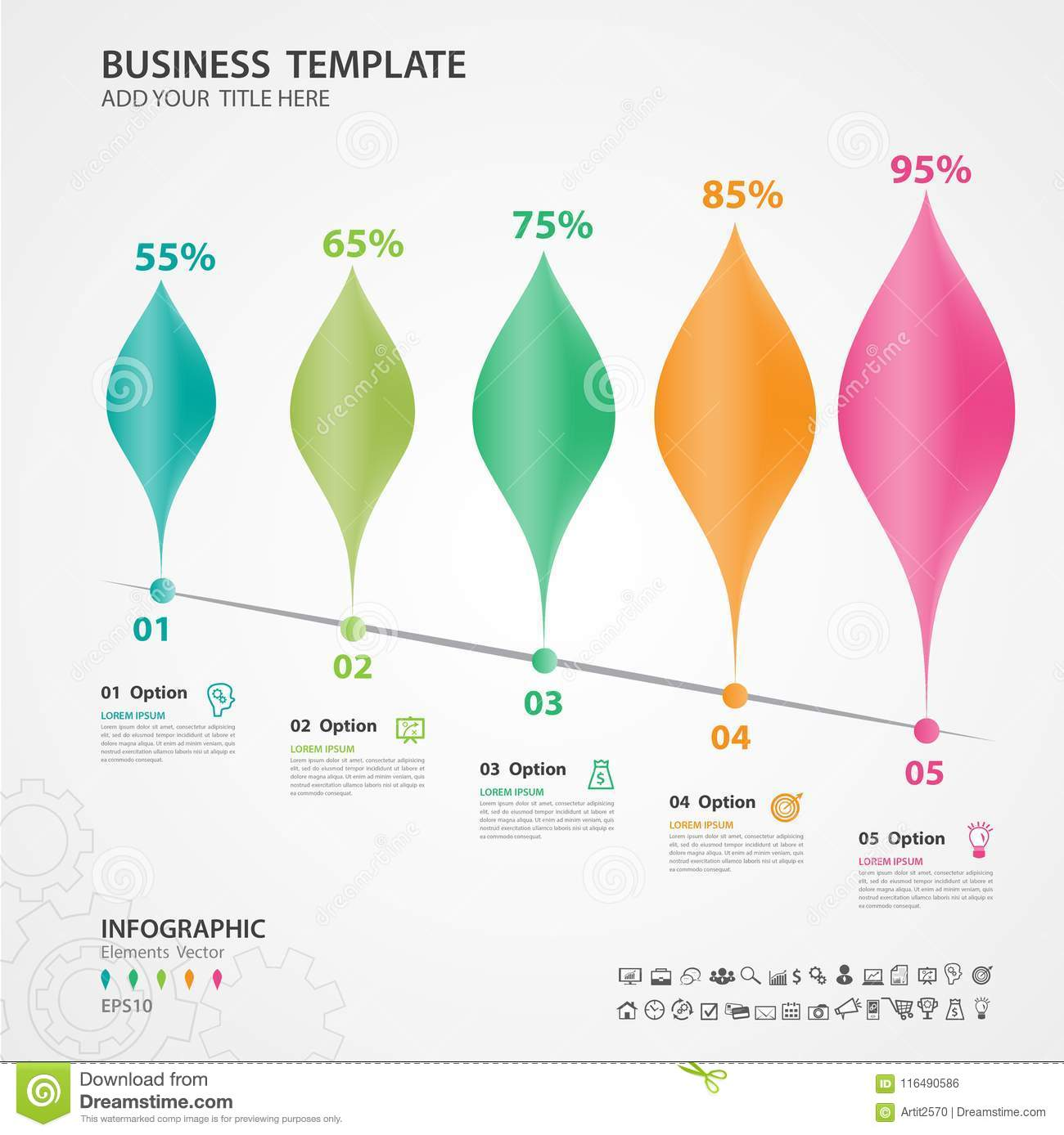 abstract infographics number options template chart diagram