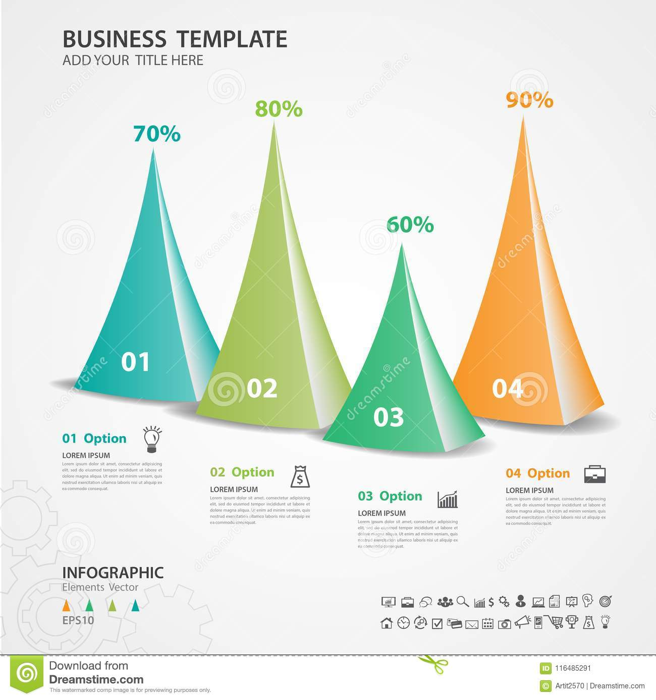 Abstract Infographics Number Options Template Vector Illustration Pyramid Diagram Triangle 3d Icon Presentation