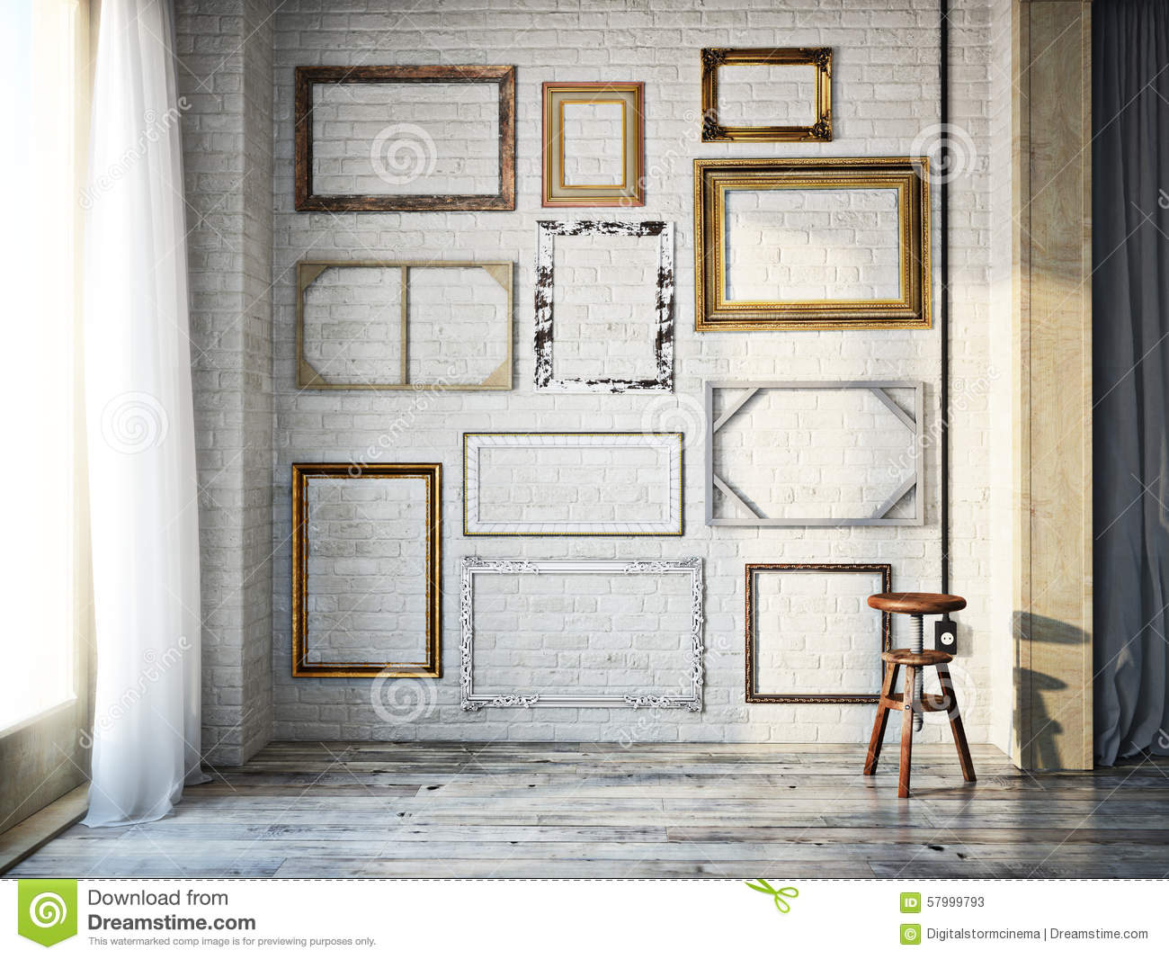 Abstract Interior Of Assorted Classic Empty Picture Frames