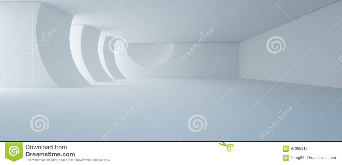 Abstract interior design of modern white showroom with empty floor and concrete wall background