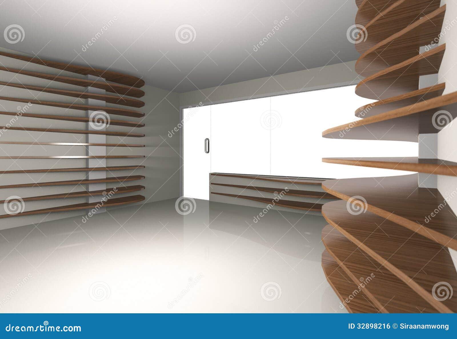 Abstract Interior With Horizontal Wood Shelfs Stock ...