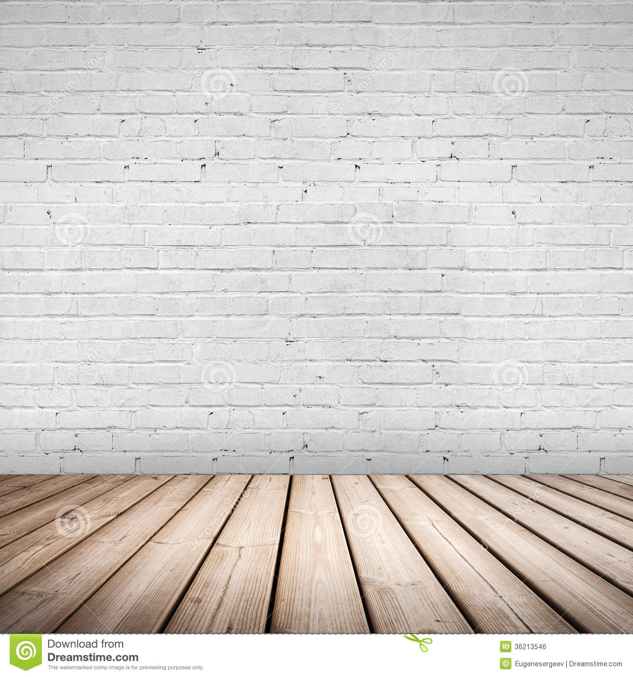 Abstract Interior Wooden Floor And White Wall Stock