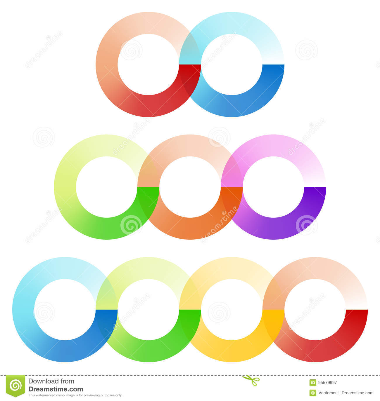 Abstract interlocking circles element set with 3 variation 2, 3