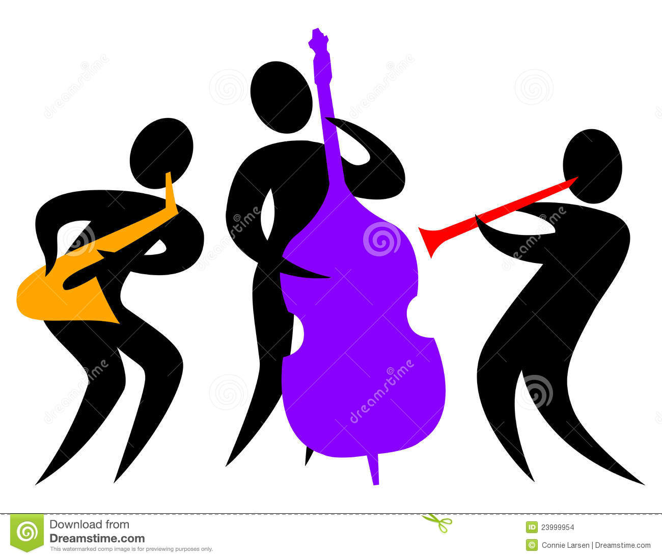Jazz music band flat group cartoon musician people