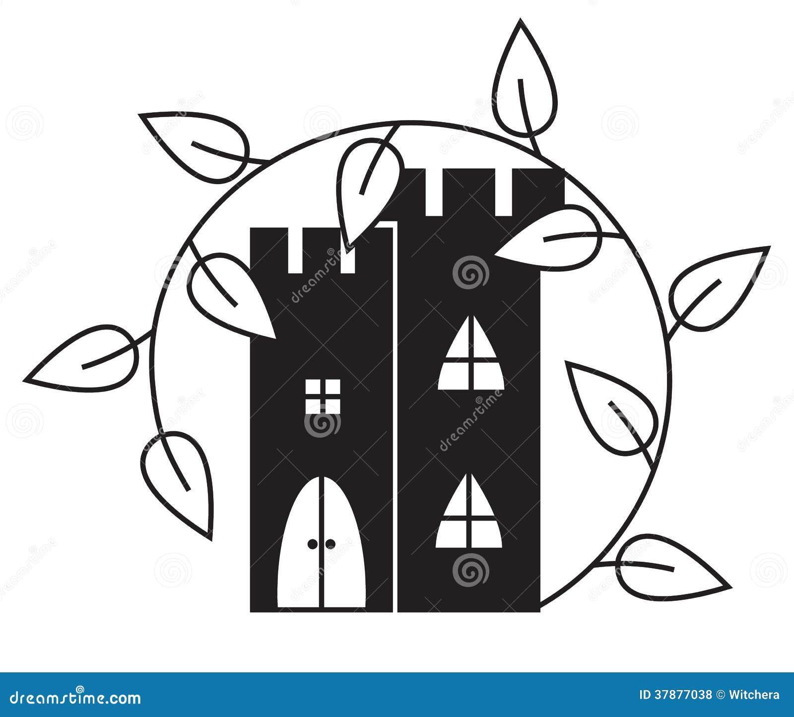 Abstract kasteel met Liana