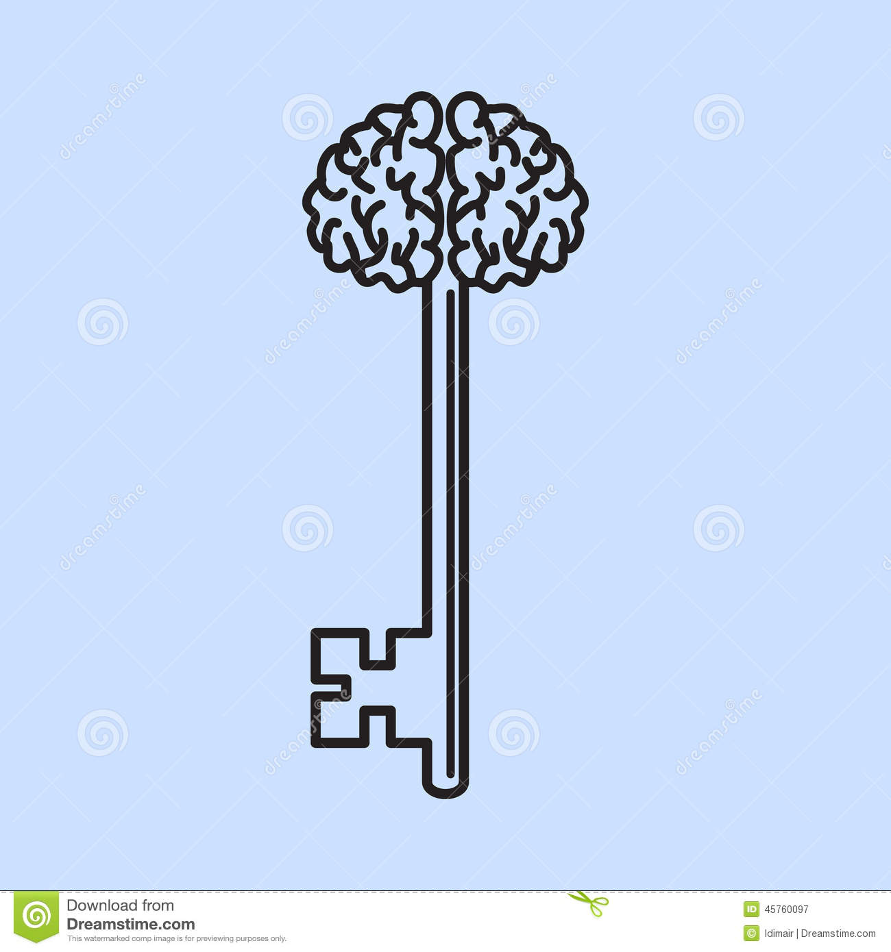 Abstract Key With Handle Like Brain Vector Stock Vector