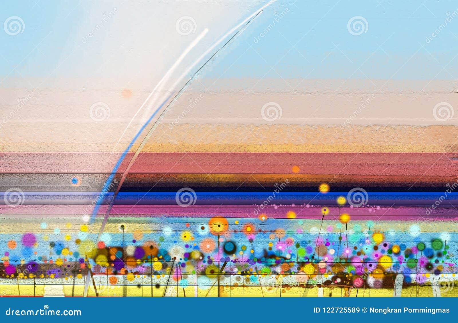 Abstract kleurrijk olieverfschilderij op canvas Semi abstract beeld van de achtergrond van landschapsschilderijen