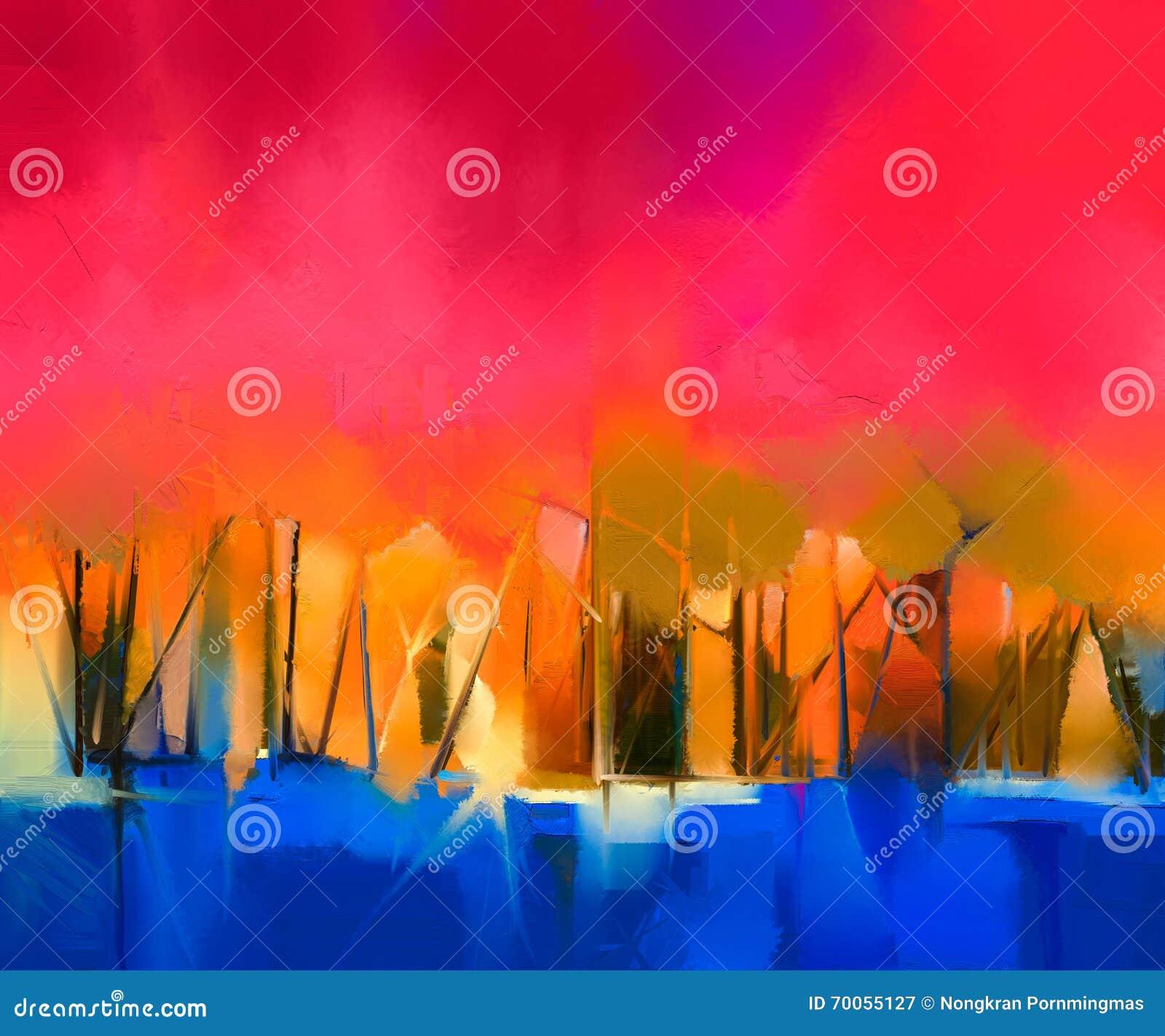 Abstract kleurrijk olieverfschilderijlandschap op canvas