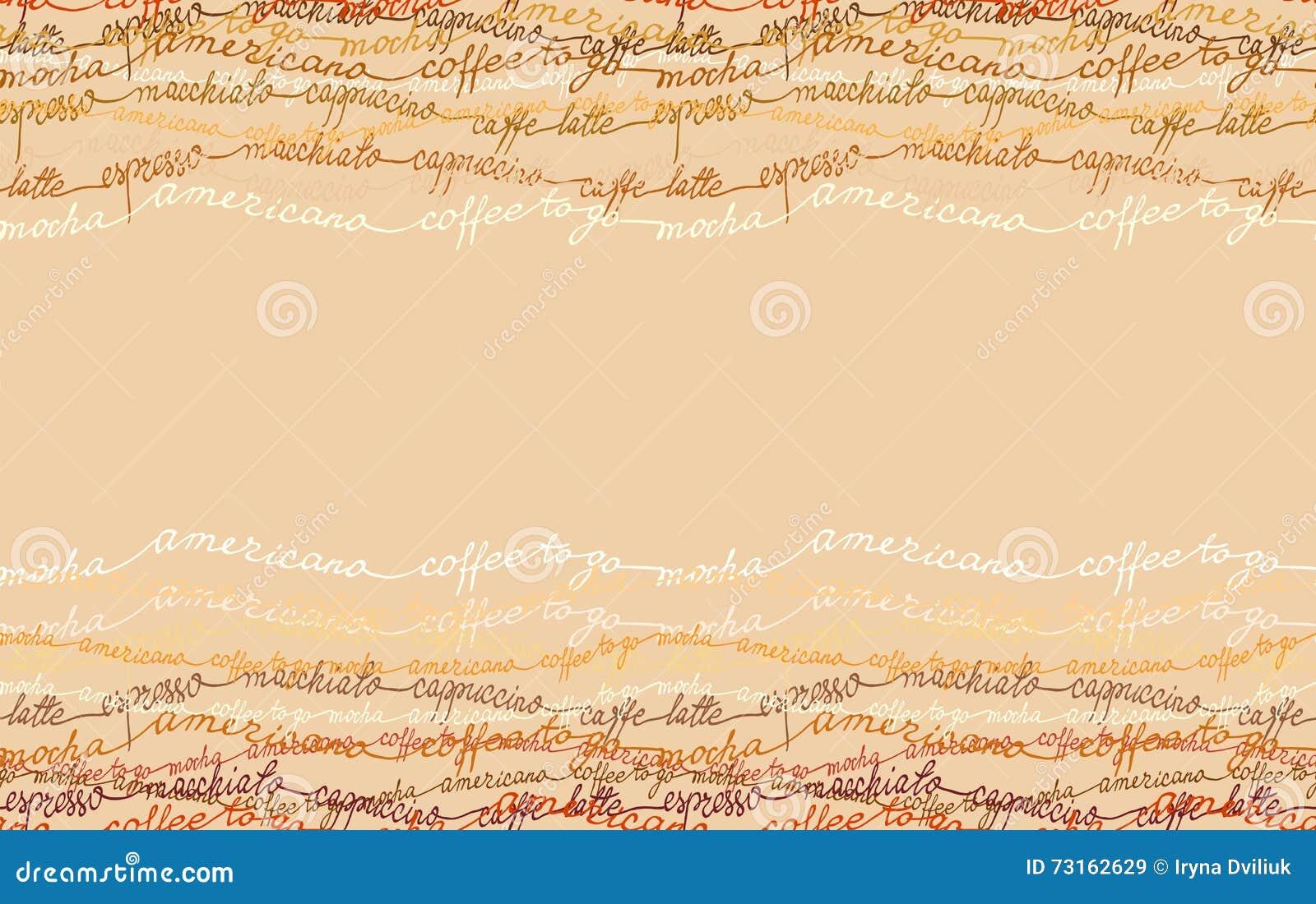 Abstract koffieontwerp met tekst