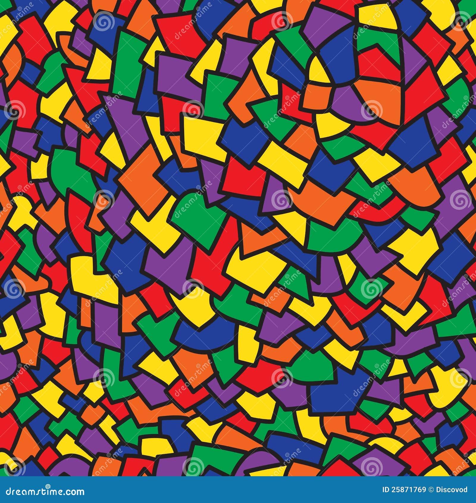 Abstract kunst kleurrijk geometrisch naadloos patroon met zwart