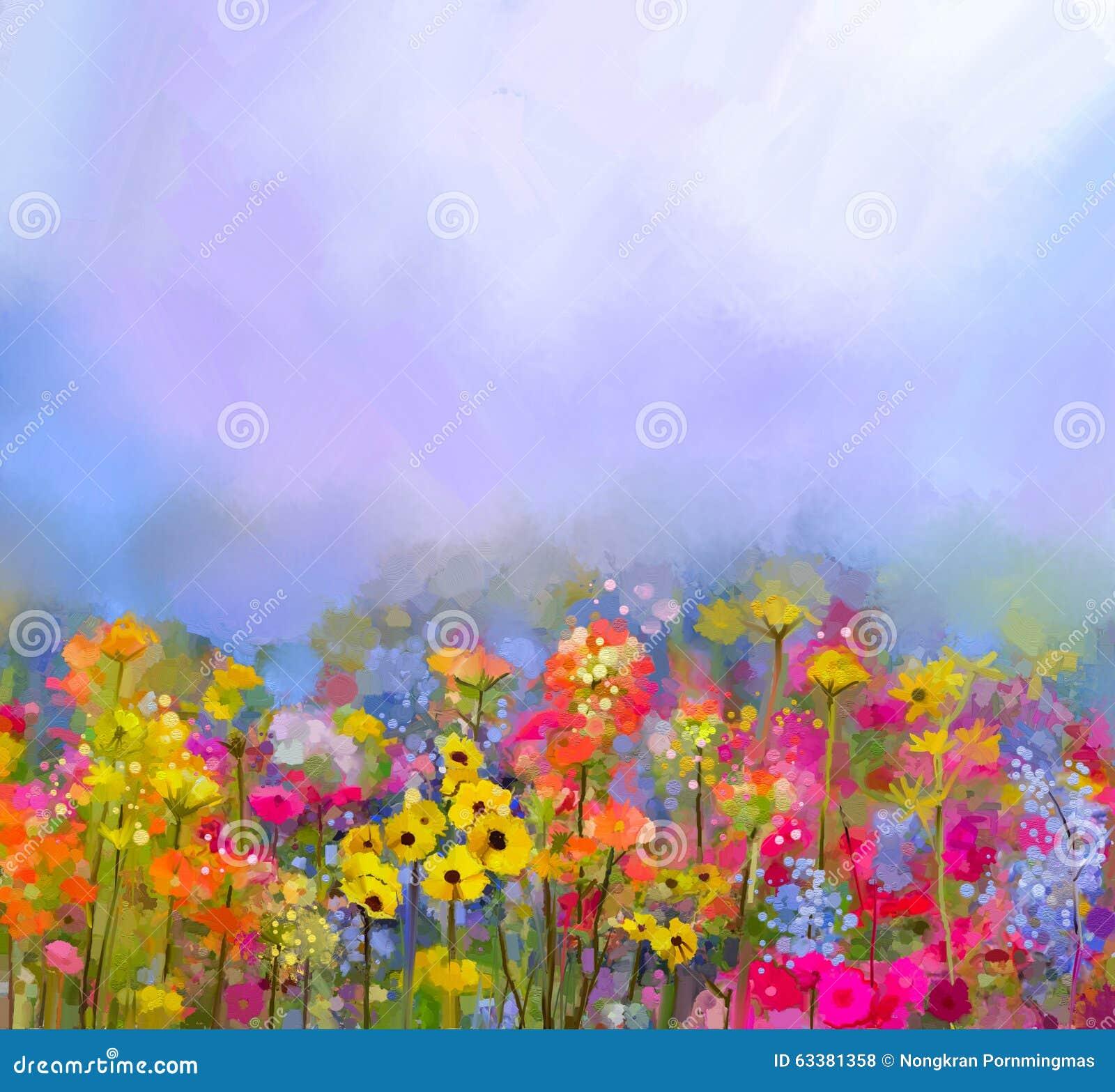 Abstract kunstolieverfschilderij van de zomer-lente bloem Weide, landschap met wildflower