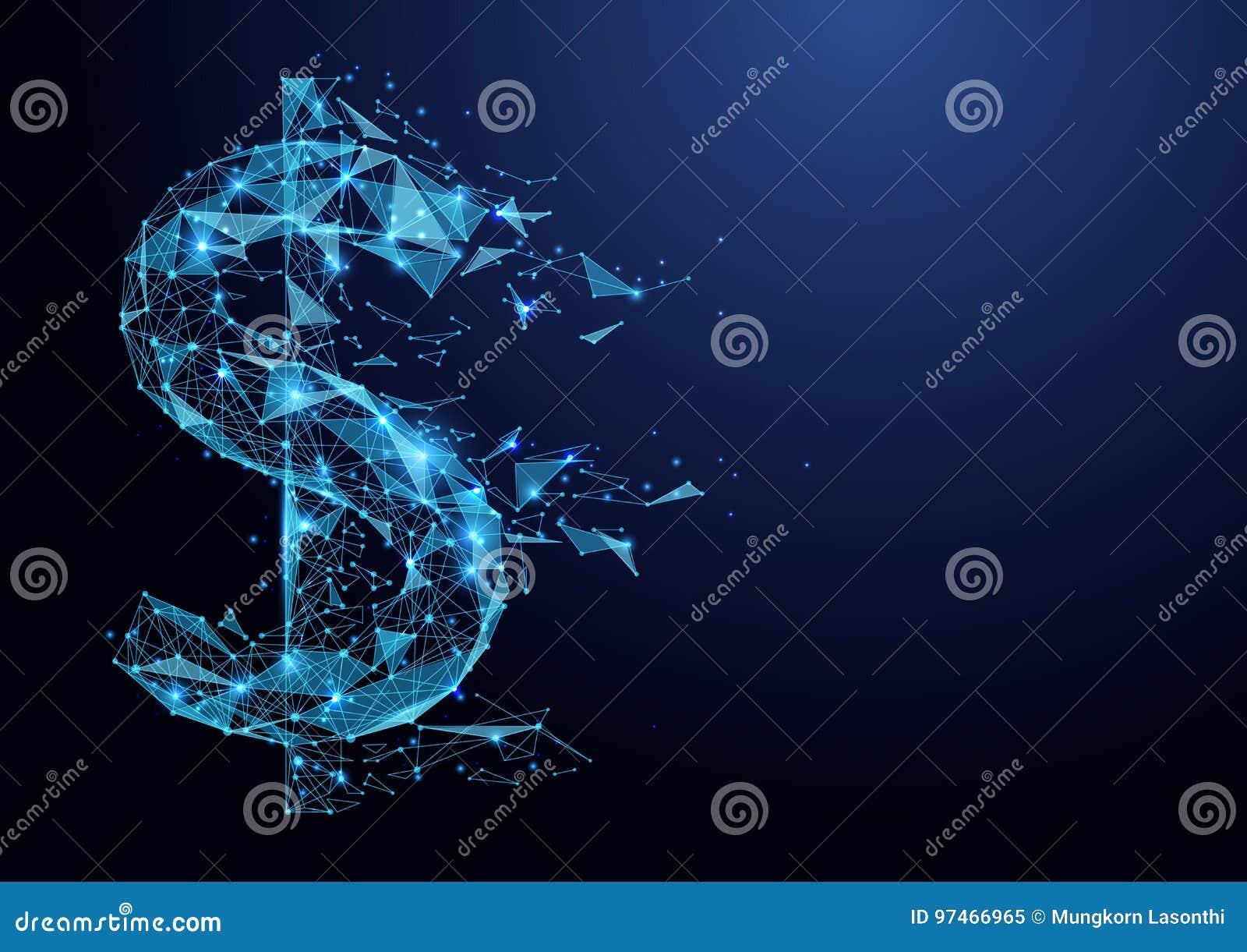 Abstract laag het pictogram wireframe netwerk van de veelhoek Amerikaans dollar op blauwe achtergrond