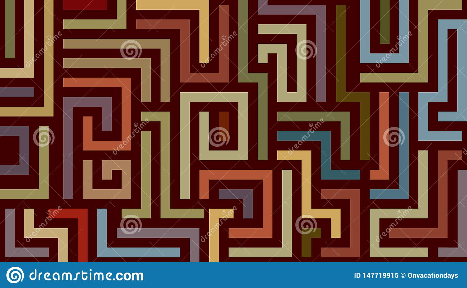 Abstract labyrinth pattern in warm colors