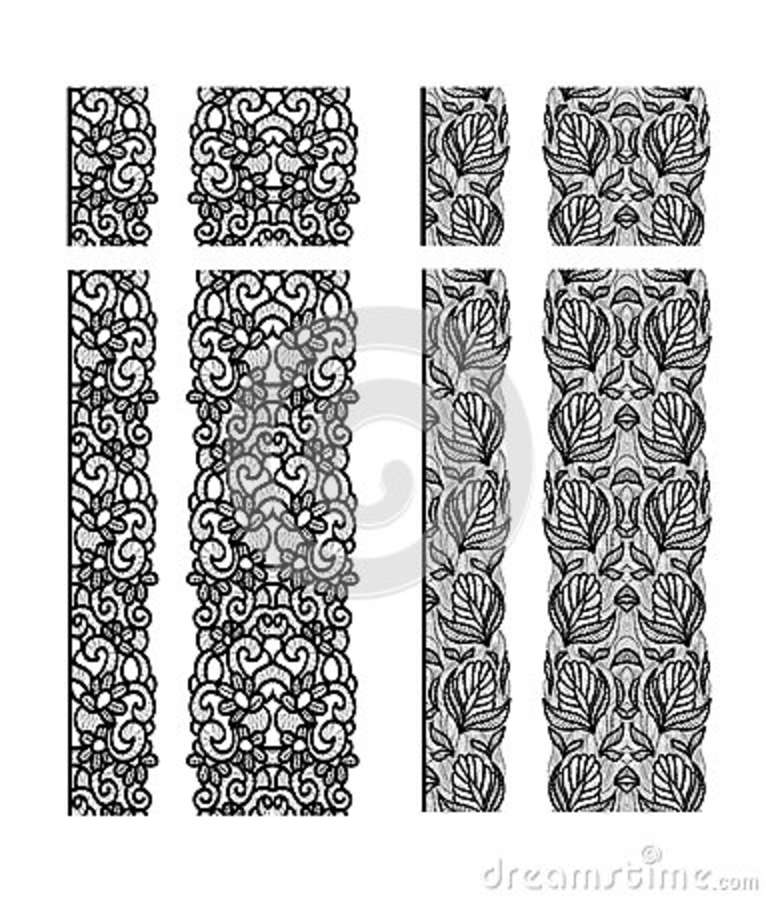 Abstract Lace Ribbon Seamless Pattern. Template Line Design. Lace ...