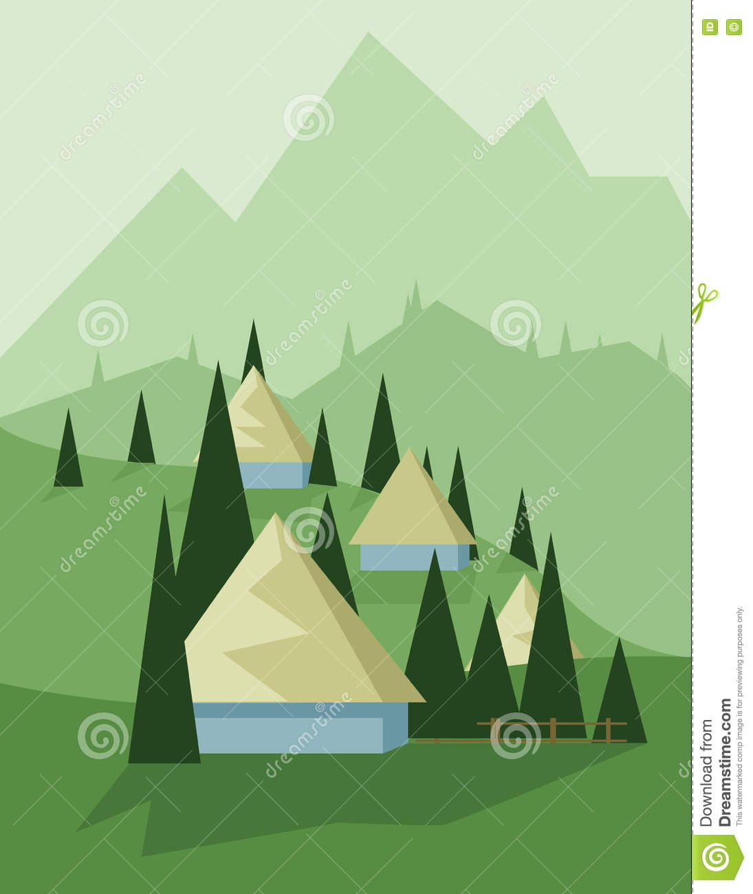 Abstract landscape design with green trees and hills, yellow houses in the mountains, flat style