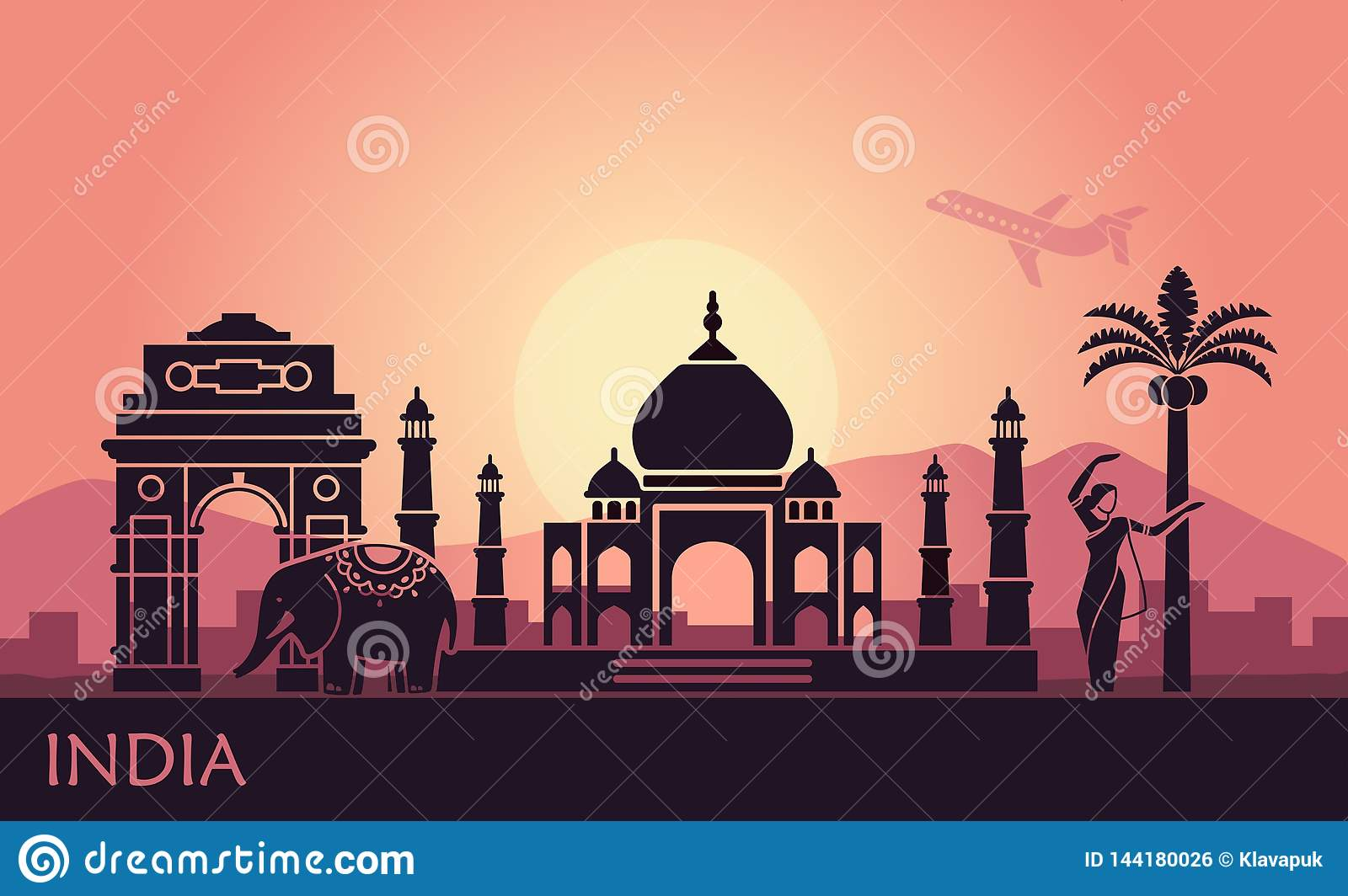 Abstract landscape with the sights of India and a dancing woman