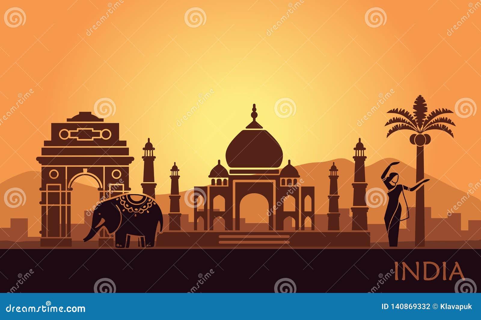 Abstract landschap met de gezichten van India en een dansende vrouw