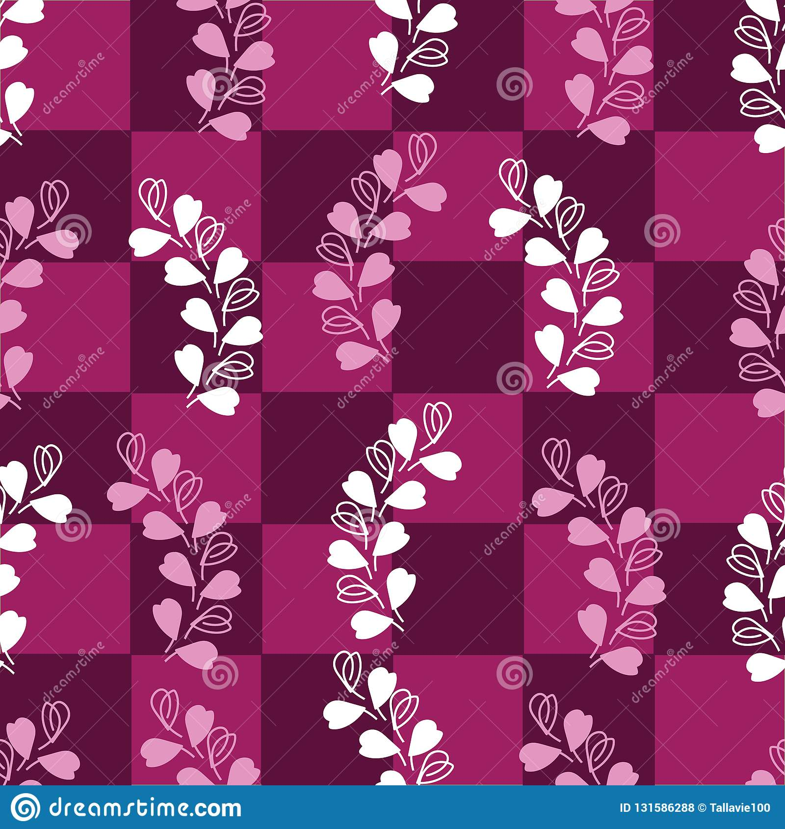 Abstract Lavender-Love in Parise Seamless Repeat Pattern on Maroon Background. Light Pink and White Colors.