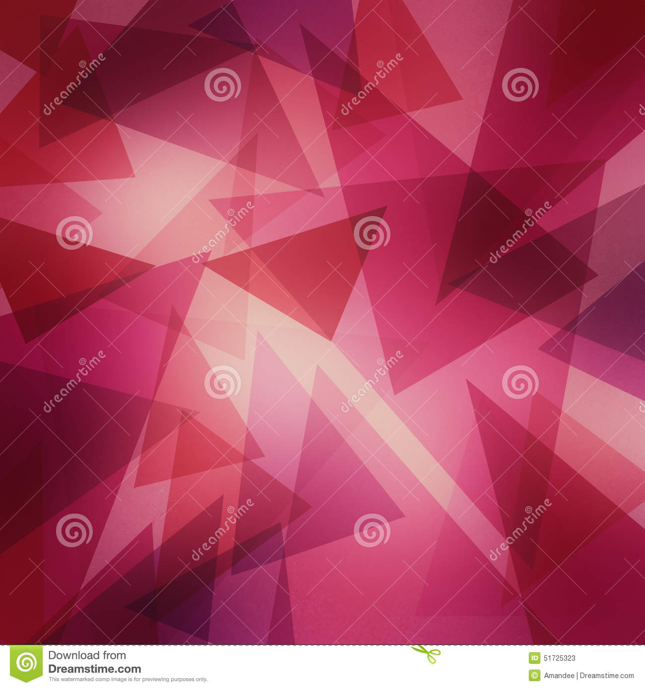 Abstract layered pink and purple triangle pattern with bright center, fun contemporary art background design