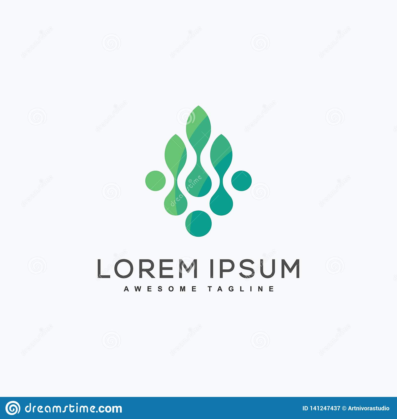 Abstract Leaf Tech Concept illustration vector Design template