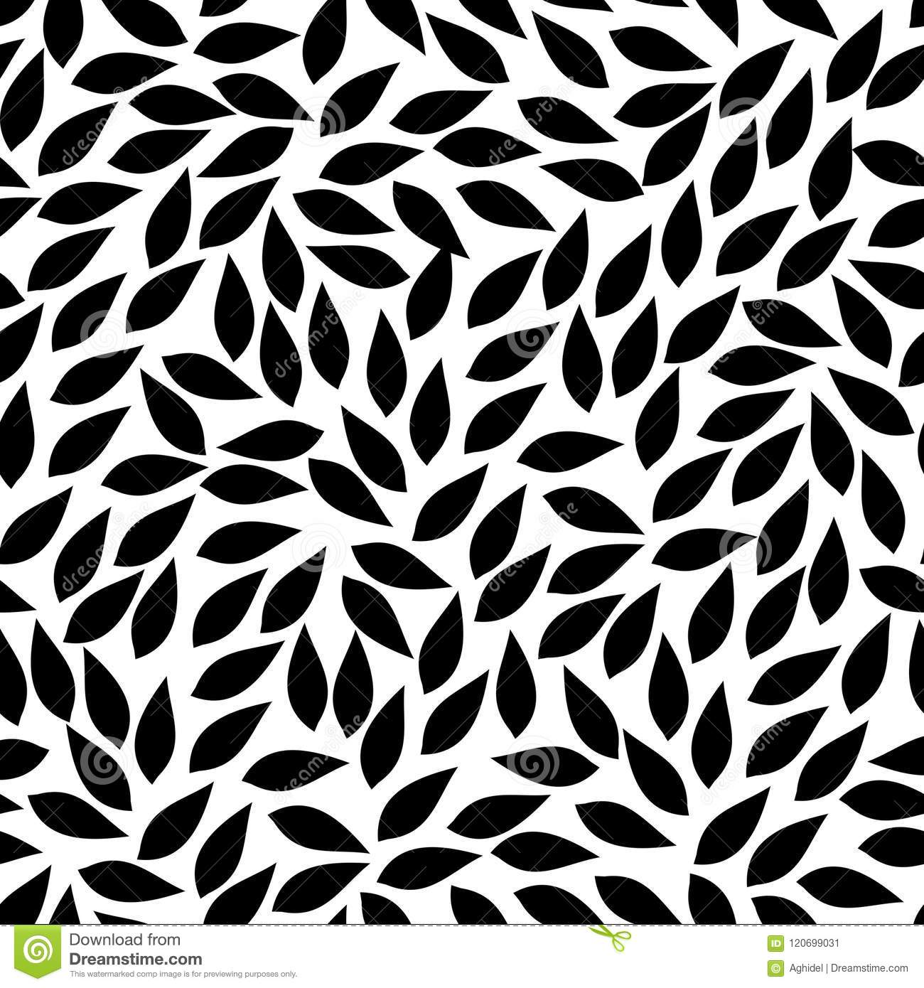 Abstract Leaves Shapes Vector Seamless Pattern Black And White