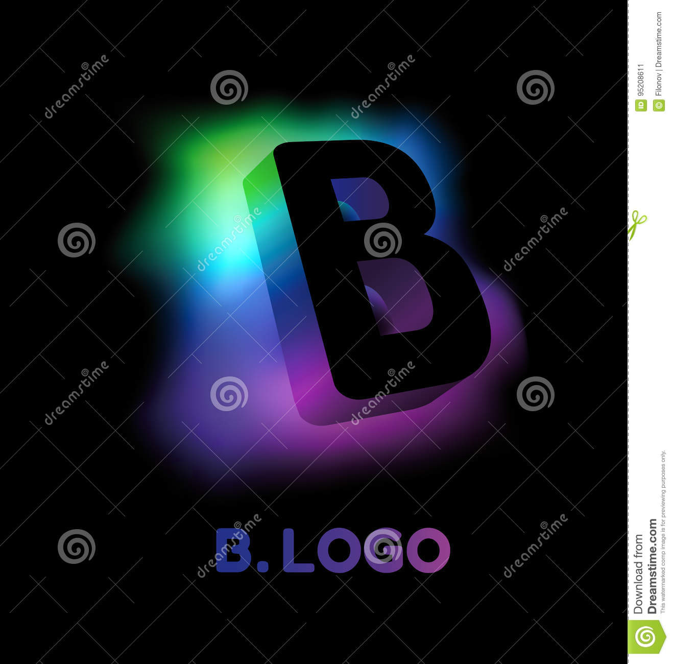 Abstract Letter B. Creative Glow Pattern 3D Logo Corporate ...