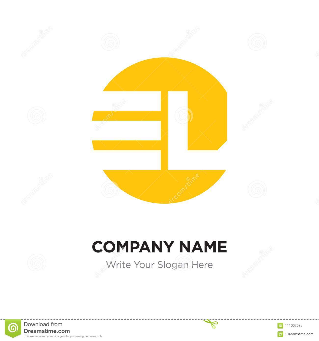 abstract letter el le logo design template yellow alphabet init