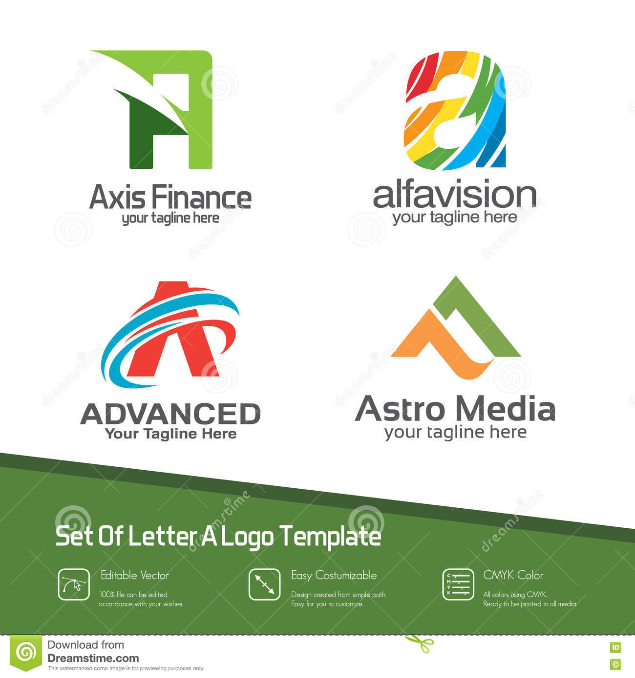 Abstract Letter A Logo Set. Simple, Colorful And Modern Design V ...