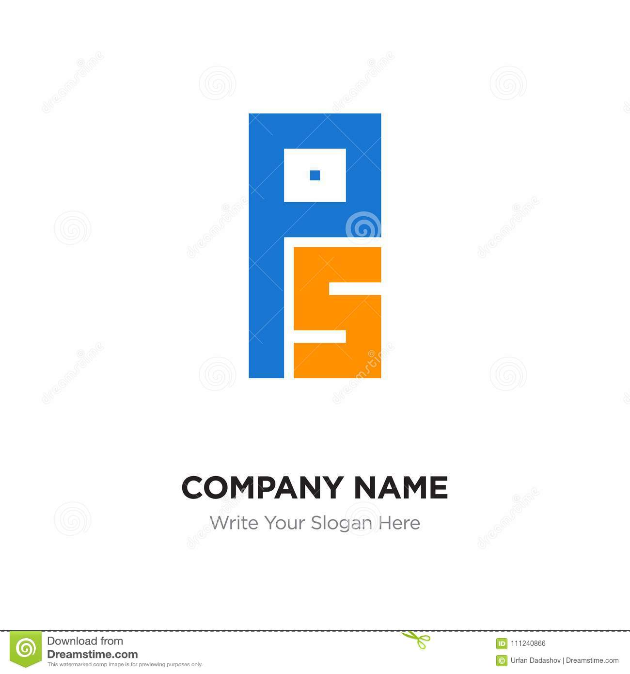 Abstract Letter Ps Or Sp Logo Design Template Black Alphabet In