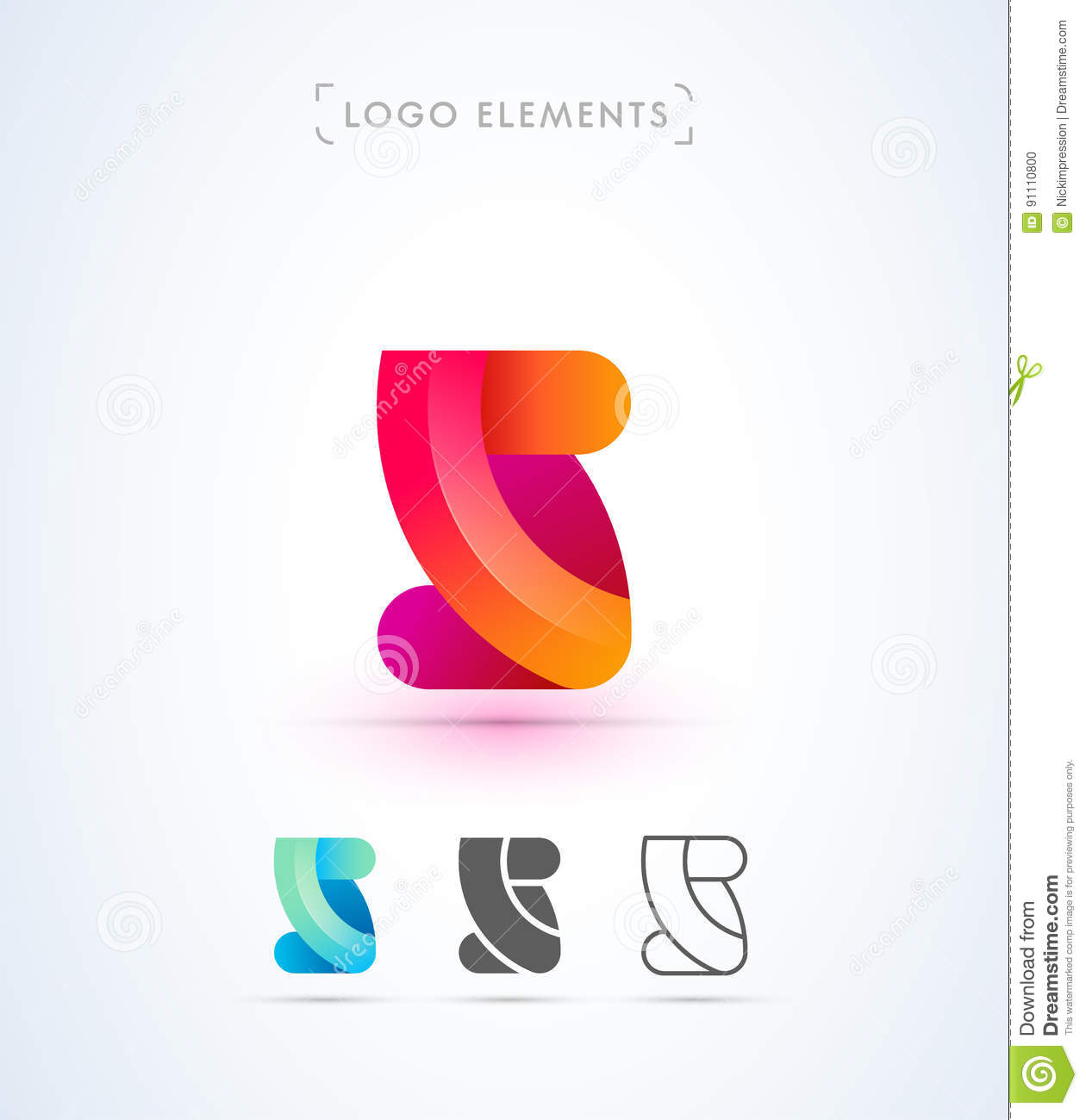 Abstract Letter S Or 2 Origami Style Logo Template Application