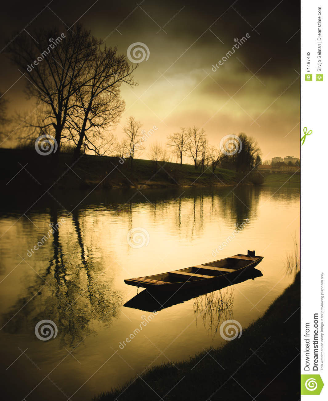Abstract surreal view with boat on the river