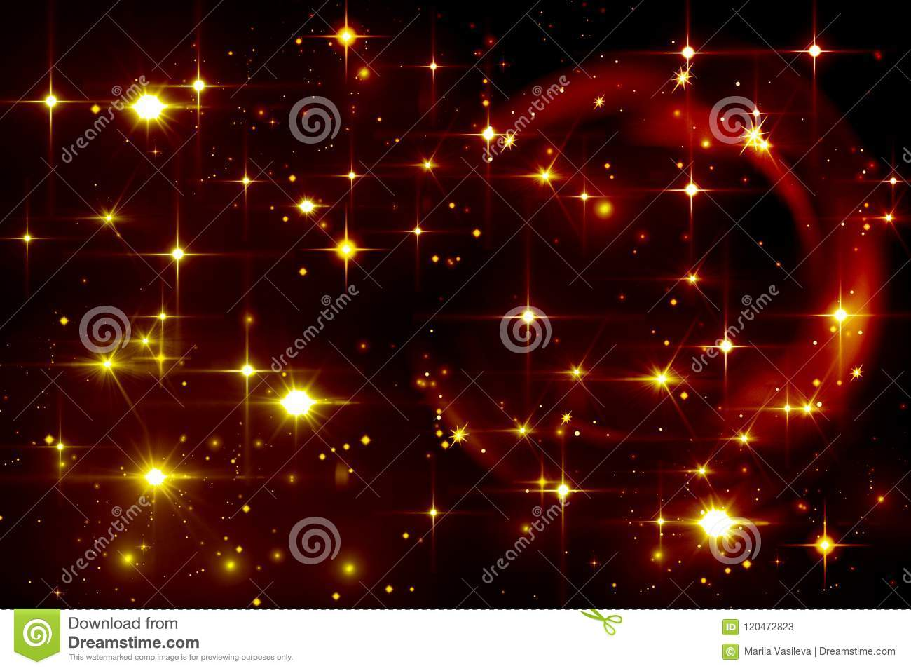 Abstract Light Effect Yellow Stars On Black Background