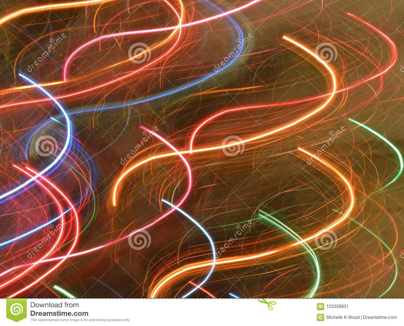 Abstract light trails rainbow colors