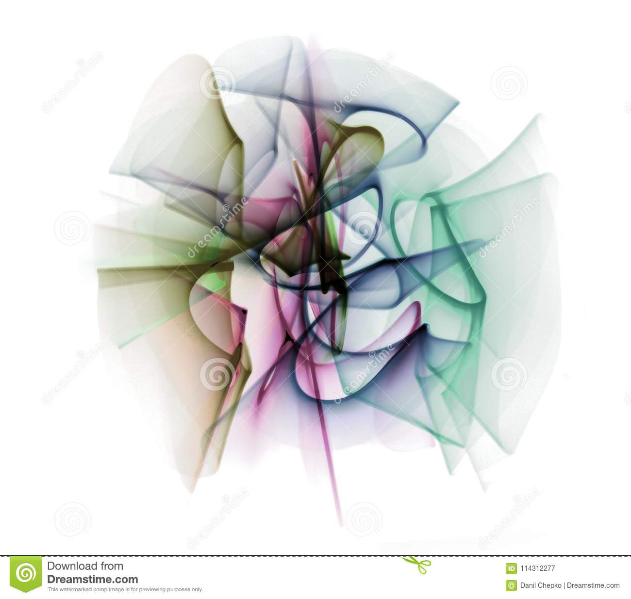 Abstract line motion of different colors, curves abstraction col