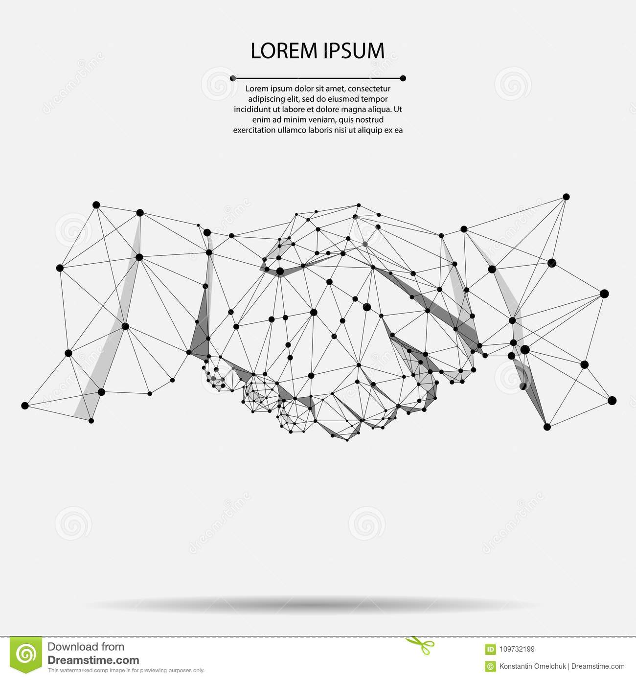 Abstract line and point agreement handshake business concept. Polygonal point line geometric design.