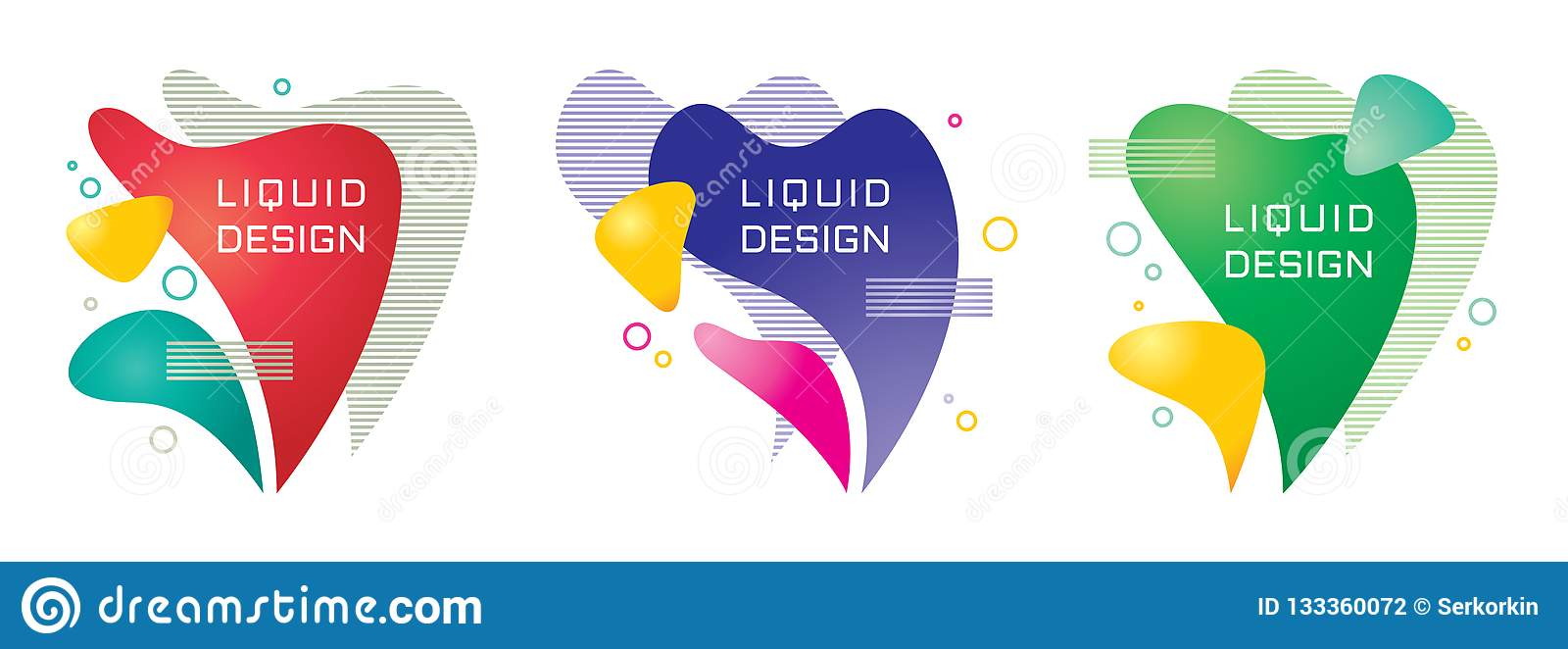 Abstract Liquid Color Background Vector Set Illustration
