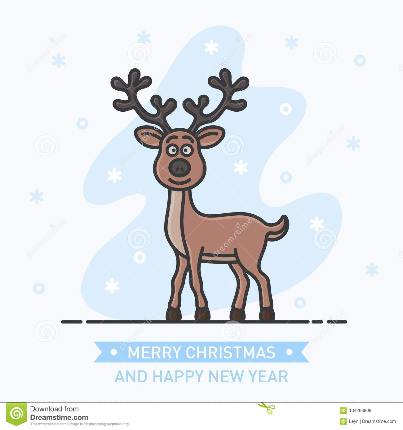 abstract little cute smiling deer on new year background