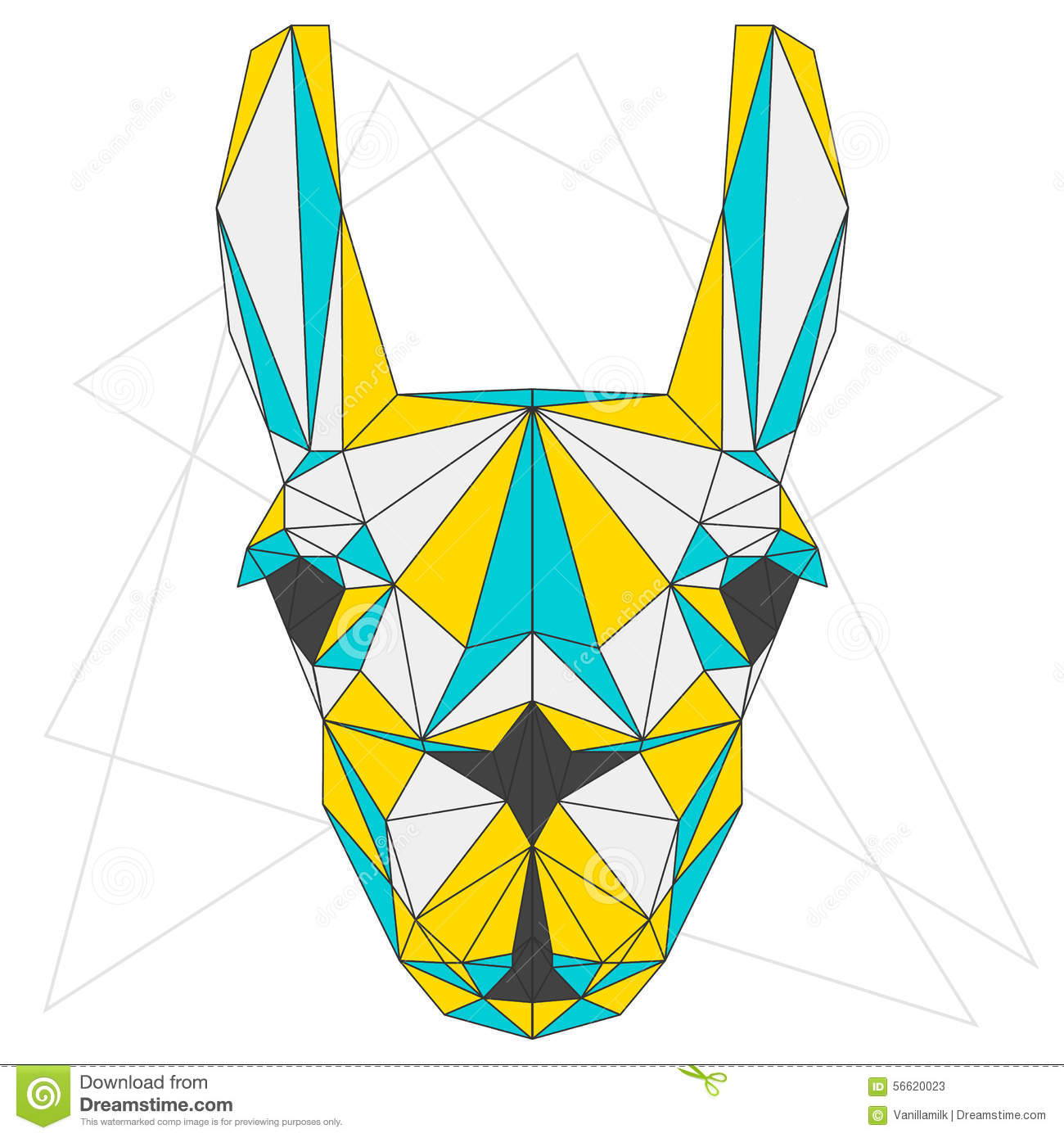 Abstract Llama Blue Yellow And Grey Blended Colored Polygonal