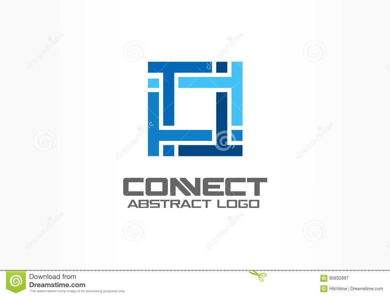 Abstract logo for business company. Industry, finance, bank logotype idea. Square group, network integrate, technology