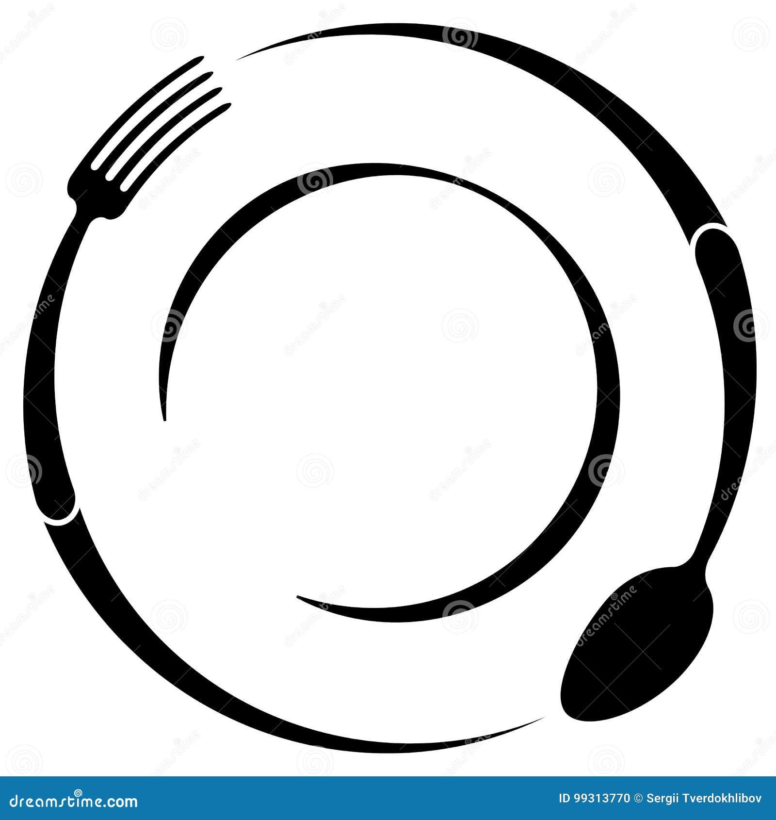 Restaurant Logo Fork Cartoon Vector