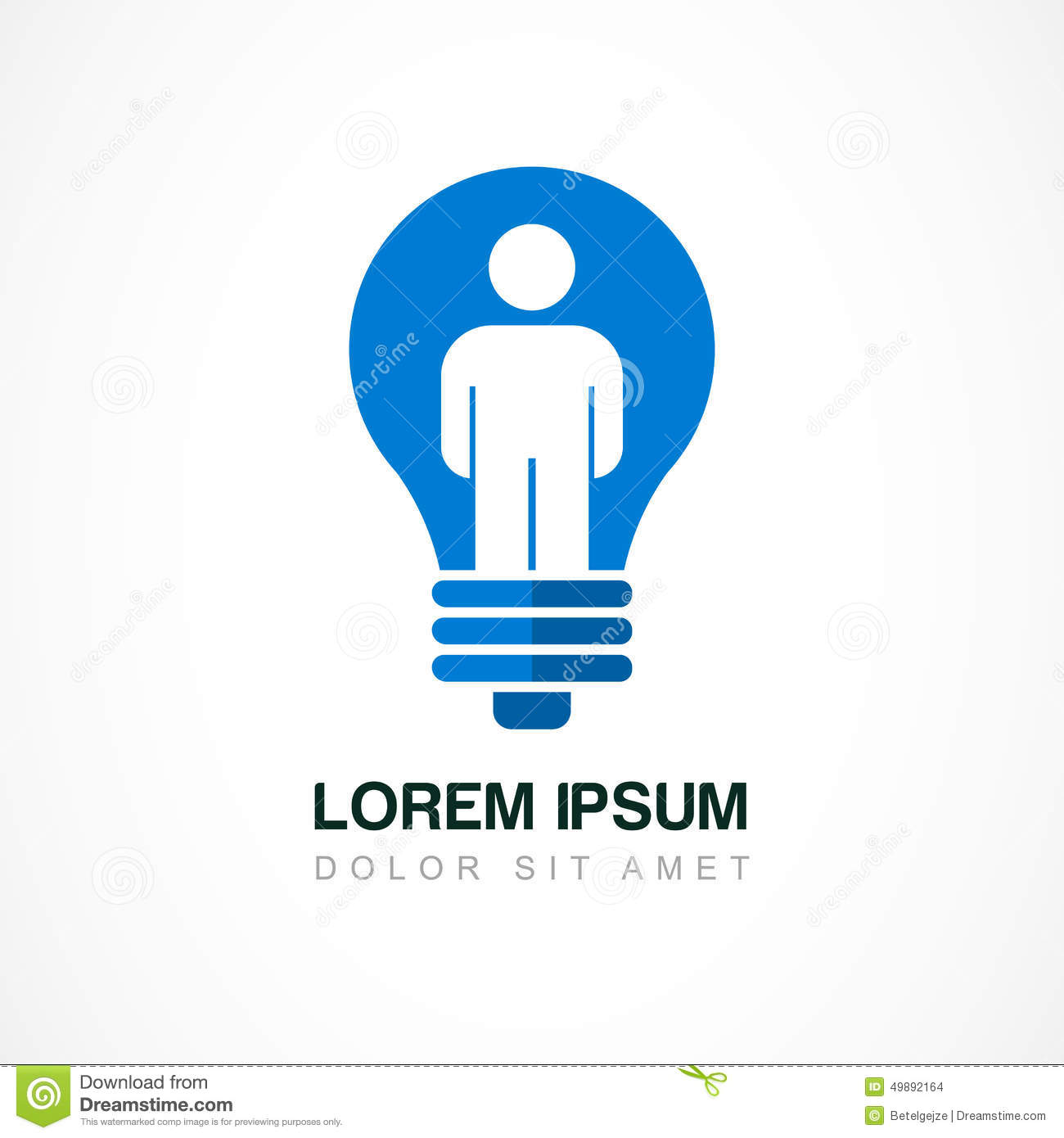 Abstract Logo Design Template Light Bulb With Man