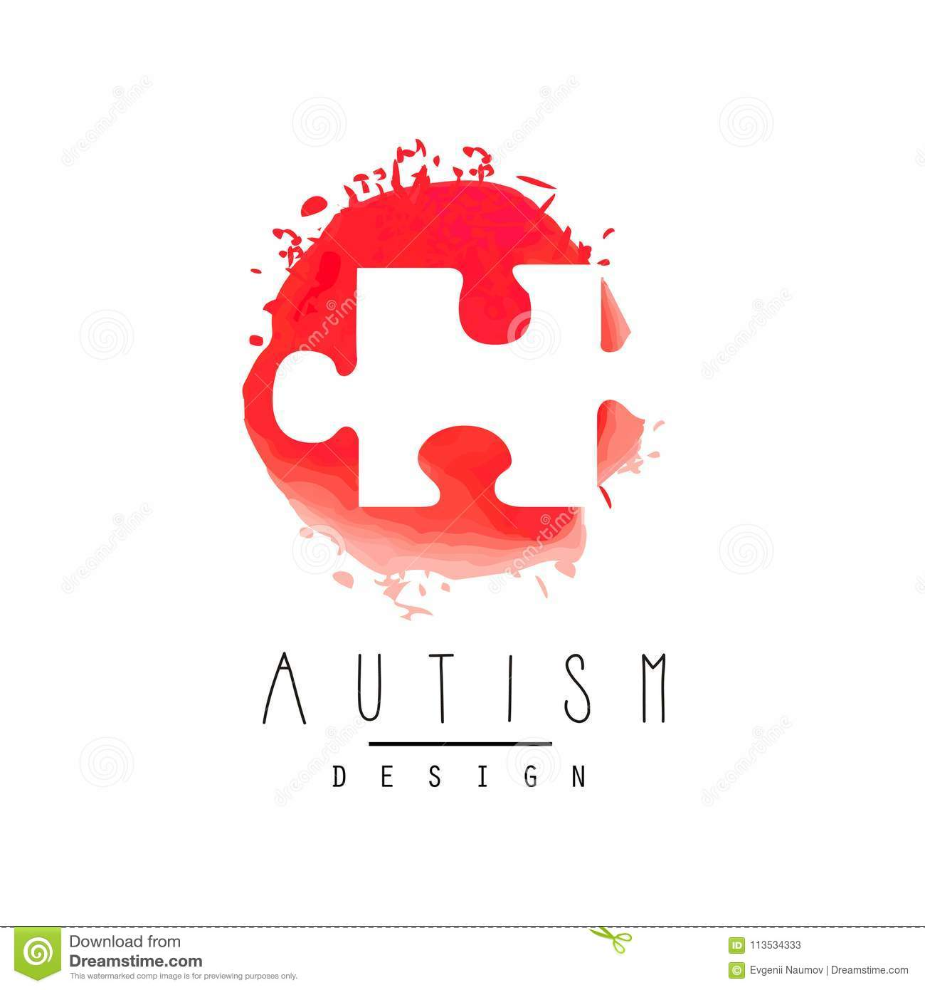 Abstract Vector Logo With Puzzle Symbol Of Down Syndrome Autism