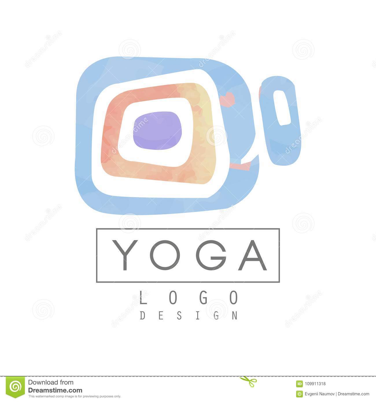 Abstract logo template for yoga studio or meditation center. Watercolor painting. Alternative medicine and wellness