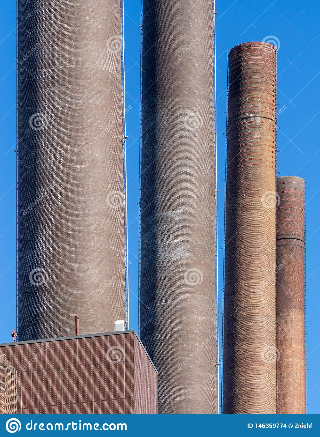 Abstract looking chimneys of the power plant of a large factory