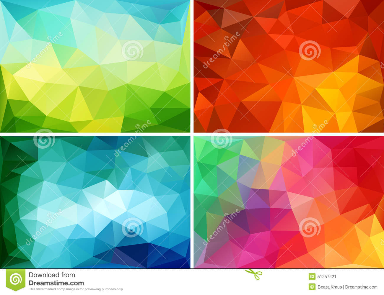 Abstract low poly backgrounds, vector set